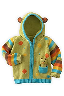 Joobles Organic Baby Cardigan Sweater - Huggy The Bear (12-18 Mos) Green