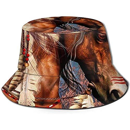Henry Anthony Spirit War Horse Bucket Hat Summer UV Sun Fisherman Cap Unisex para Viajes Playa al Aire Libre