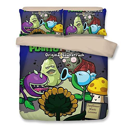 FJMM Plants vs. Zombies Bedding Sets PVZ 3PC Duvet Cover Set 3D Print Soft,Twin