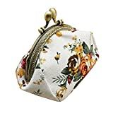 Coin Purse,Lady Vintage Floral Mini Wallet Clasp Closure Classic Rose Pattern Clutch Bag (...