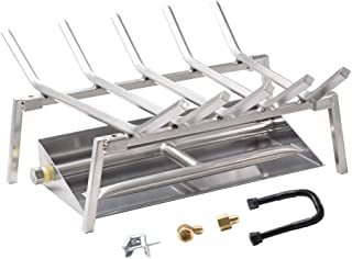Skyflame 18-inch Fireplace Log Grate with Dual Burner Pan and Connection Kit for Natural Gas, 304 Stainless Steel