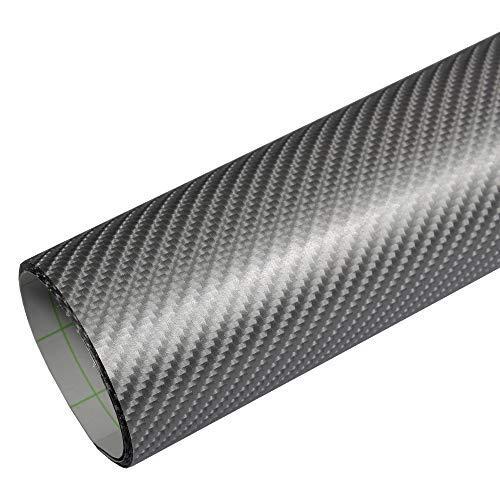 Rapid Teck® 5,26€/m² Premium – 4D Carbon Silber Grau 50cm x 1,52m Auto Folie Blasenfrei mit Luftkanälen für Auto Folierung und 3D bekleben in Matt Glanz und Carbon Autofolie