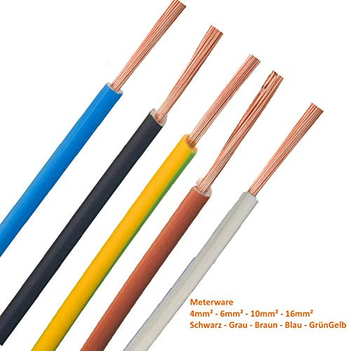 Verdrahtungsleitung - H07V-K - 4mm² 6mm² 10mm² 16mm² - schwarz, blau, grün gelb, grau, braun, ***Meterware*** - PCV Einzelader feindrähtig, 6mm² Blau