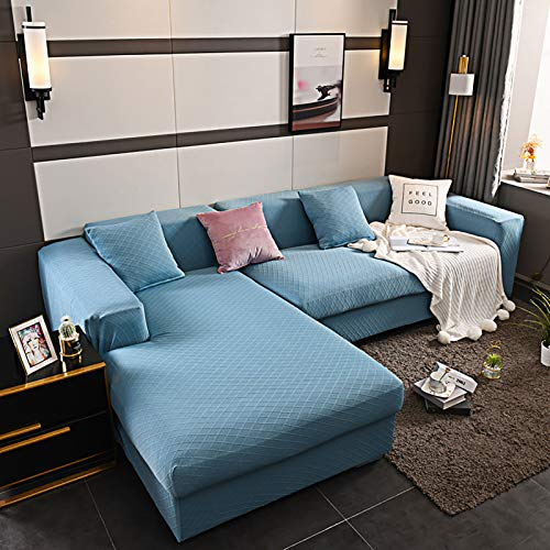 XQWZM Stretch Polyester Sofa Cover,Thick Spandex Sofa Slipcover,Soft Couch Cover,L-sectional Couch Cover Protector,For Living Room,1 Piece-Blue. 4 Seaters 235-300cm(93-118inch)