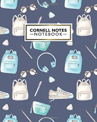 Cornell Notes Notebook: Amazing School Time Cornell Note Medium Lined Paper Notebook - Large College Ruled Journal Note Taking System for Students - Cute Backpack & Sneakers Print