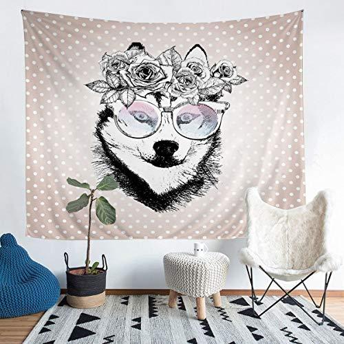 Bonito tapiz de pared para perro, diseño floral, para niños, niñas, lunares, para colgar en la pared, para dormitorio, sala de estar, 152 x 223 cm