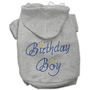 Mirage Pet Products 10-Inch Birthday Boy Hoodies, Small, Grey