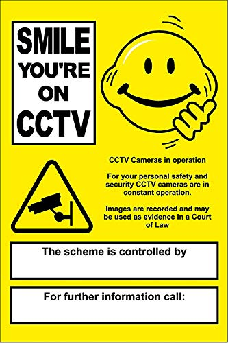 YASMINE HANCOCK Personalised Smiley CCTV Kamera in Operation Warning Your Company Details Komposite Ultra Hi-Durability Wanddekoration Metall Schild Kunst Poster
