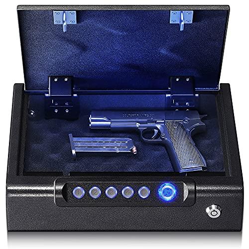 Biometric Gun Safe for Pistols - Quick Access High-Solution Fingerprint Pistol Safe with Digital Keypad & Keys, Portable Gun Lock Box Handgun Safe for Nightstand | Bedside | Home | Car Travel