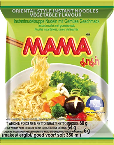 MAMA Instantnudeln – Vegetarische Instantnudelsuppe orientalischer Art – Authentisch thailändisch kochen – 30 x 60 g