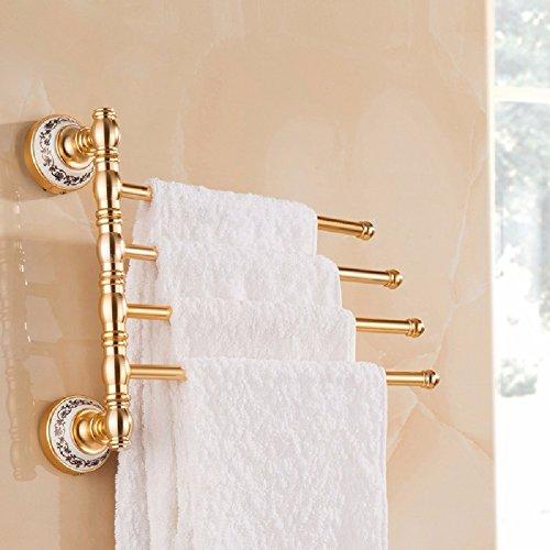 HQLCX Oro Viejo Estilo Europeo toallero, toallero de ba?o Polo Swing, Cuatro