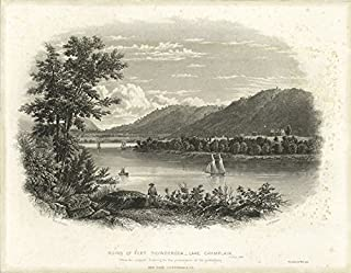 Historic Pictoric ca. 1750 Print - Ruins of Fort Ticonderoga - Lake Champlain - Vintage Wall Art - 44in x 36in