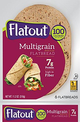 Flatout Multi Grain with Flax Flatbread Wraps - 100 Calories (2 Packs of 6)