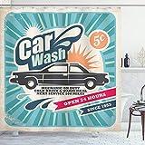 ABAKUHAUS Retro Cortina de Baño, Vintage Auto Reparación Arte, Material Resistente al Agua Durable...