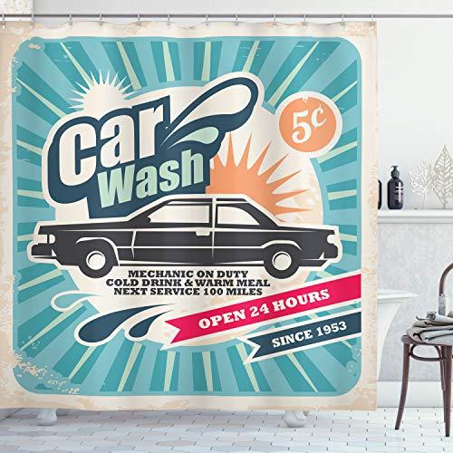 ABAKUHAUS Retro Duschvorhang, Vintage Auto-Reparatur-Kunst, Set inkl.12 Haken aus Stoff Wasserdicht Bakterie & Schimmel Abweichent, 175 x 240 cm, Multicolor