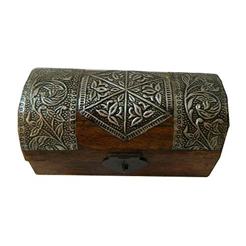 indischerbasar.de Piratentruhe 15x7,5x7,5cm dunkelbraun Holz Mangobaumholz Kiste Aufbewahrung Schatztruhe