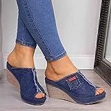 XLBHSH Sandalias Mujer Plataformas Verano Peep Toe Cuñas Sandalias Zapatos Alpargatas Sandalias de Playa,Azul,35