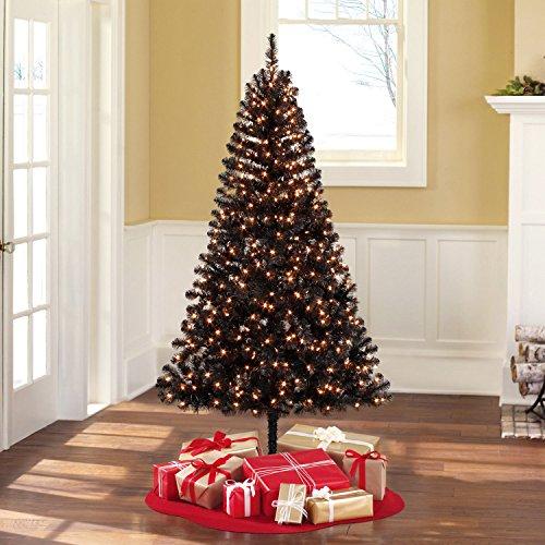 Pre-Lit 6.5' Madison Pine Black Artificial Christmas Tree