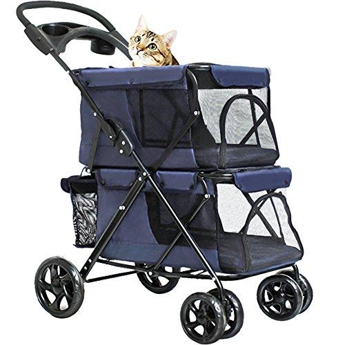 WINGOFFLY Double-Deck 4 Wheels Cats Stroller