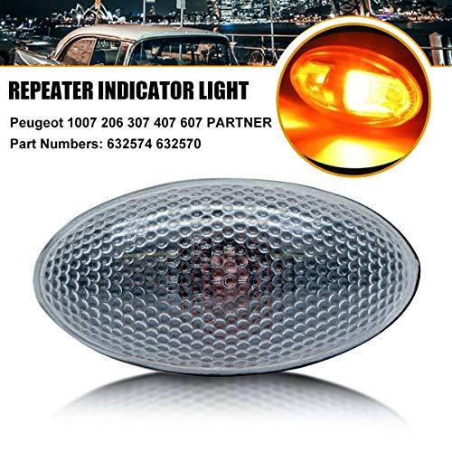 Maso - Lámpara de luz lateral para coche con repetidor de luz para Peugeot 206, 407, 307, 607, Partner 632574, 632570