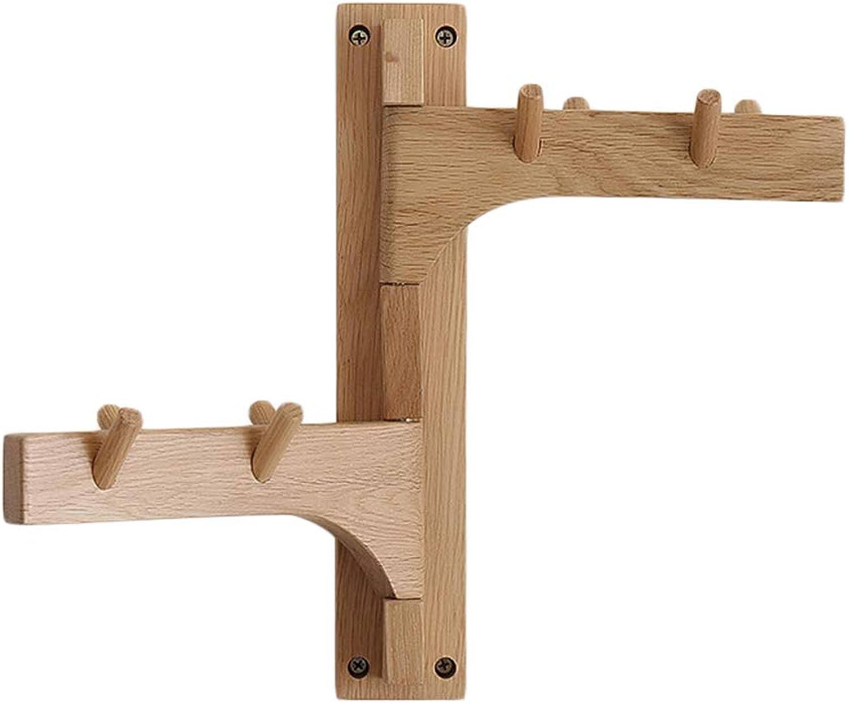 LF Oak Wood Swivel Coat Racks, Foldable Arms 5 Hat Hooks Clothes Rail Key Holder for Entryway 30  22cm