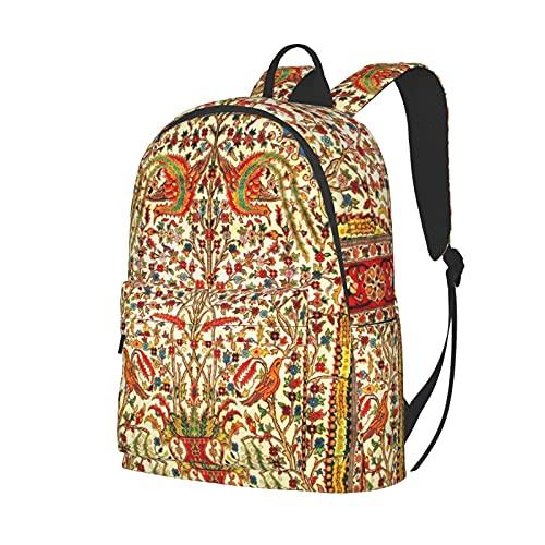 Reise-Laptop-Rucksack, Diebstahlschutz, Computertasche, Business-Büchertasche für Damen und Herren Gr. One size, Antik Retro Blumen Tiermotiv Indianer Schwarz