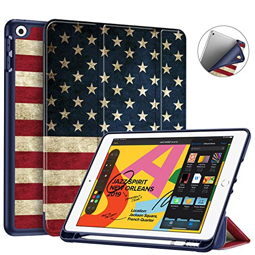 Fintie SlimShell Case for New iPad 7th Generation 10.2 Inch 2019 with Built-in Pencil Holder - Smart Stand Soft TPU Back Cover, Auto Wake/Sleep for iPad 10.2' Tablet, US Flag