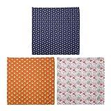 ABAKUHAUS Pack de 3 Bandanas Unisex, Peachy virada Motif en modelo y Flora azul acuario, Multicolor