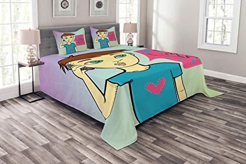 ABAKUHAUS Ruf Mama Tagesdecke Set, Boy Aufruf Seiner Mutter, Set mit Kissenbezügen Sommerdecke, für Doppelbetten 220 x 220 cm, Mehrfarbig