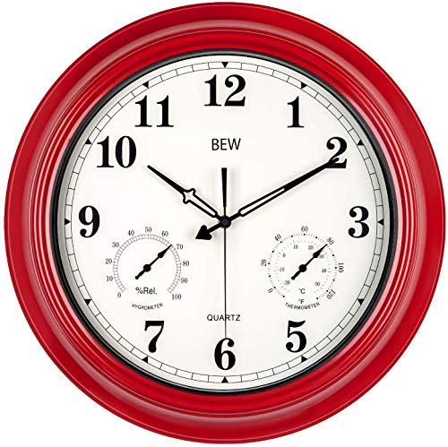 Große Wanduhr, 45 cm Garten Wetterfest Dekorative Wanduhren mit Thermometer und Hygrometer, Batteriebetriebene Leise Metall Uhr für Garten, Zaun, Terrasse, Pool und Zuhause (Empire Rot)
