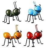 TOPofly Arte jardín, esculturas de Metal 4PCS Ant Ornamento, Escultura Lindo Colorido para Colgar Arte de la Pared del jardín del césped decoración