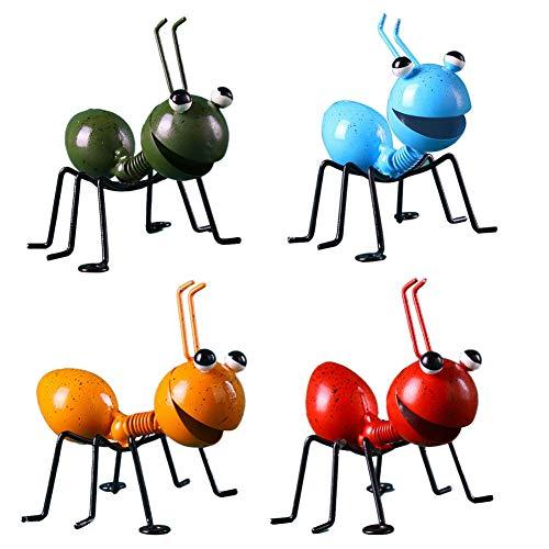 4PCS Ant Garten Ornamente Garten-Kunst-Metall-Skulptur Ant Ornament Bunte Cute Insect für hängende Wand Art Garten-Rasen-Dekor Innen Außen