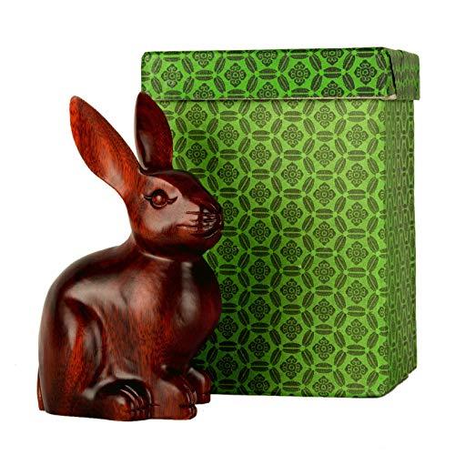Manualidades de escritorio Magníficamente tallado en ornamentos de conejo chino Zodiac Feng Shui Estatuas de animales Accesorios para el hogar Adecuado para pequeños regalos creativos para amigos Deco