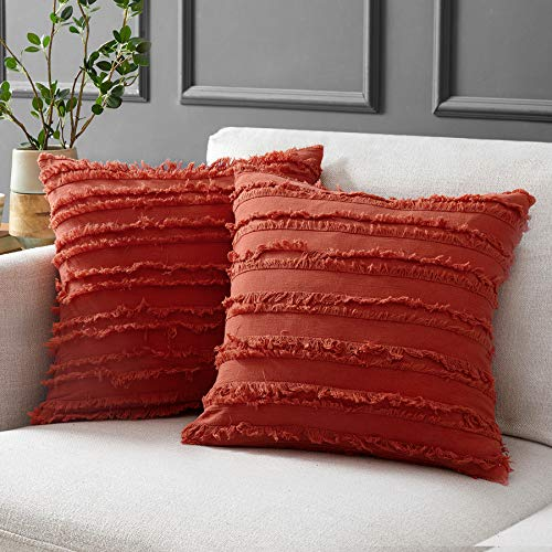Longhui bedding Coral Throw Pillow Covers for Couch Sofa Bed, Cotton Linen Decorative Pillows Cushion Covers, 16 x 16 inches, Set of 2
