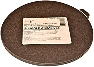 Sungold Abrasives 336039 40 Grit 6 X -Weight Cloth Premium Industrial Aluminum Oxide Psa Stick-On Sanding Discs For Stationary Sanders,  10 Sanding Discs/Pack