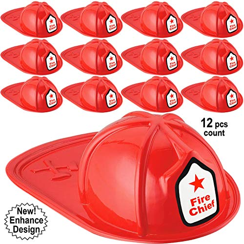 Anapoliz Kids Firefighter Hat | 12 Pcs Plastic Fire Hats for Kids | Double Axe Fire Chief Theme Party | Fun, Safe, Soft Firefighter Helmet Costume Dress Up Accessory