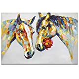 Fasdi Art Paintings, Paintings,Oil Painting Animal Horse 3D Hand-Painted On Canvas Abstract Artwork Art Wood Inside Framed Hanging Wall Decoration Abstract Painting (DF016, 24x36inch)
