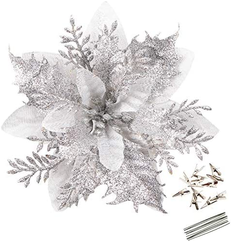Greentime 12 Pcs 14cm 5 5in Silver Poinsettia Artificial Christmas Flowers with Clips and Stems product image
