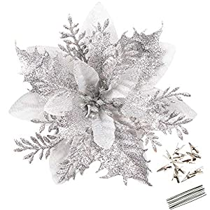 Greentime 12 Pcs 14cm / 5.5in Silver Poinsettia Artificial Christmas Flowers with Clips and Stems Glitter Christmas Tree Poinsettia Decorations for Xmas Wedding Party Wreath