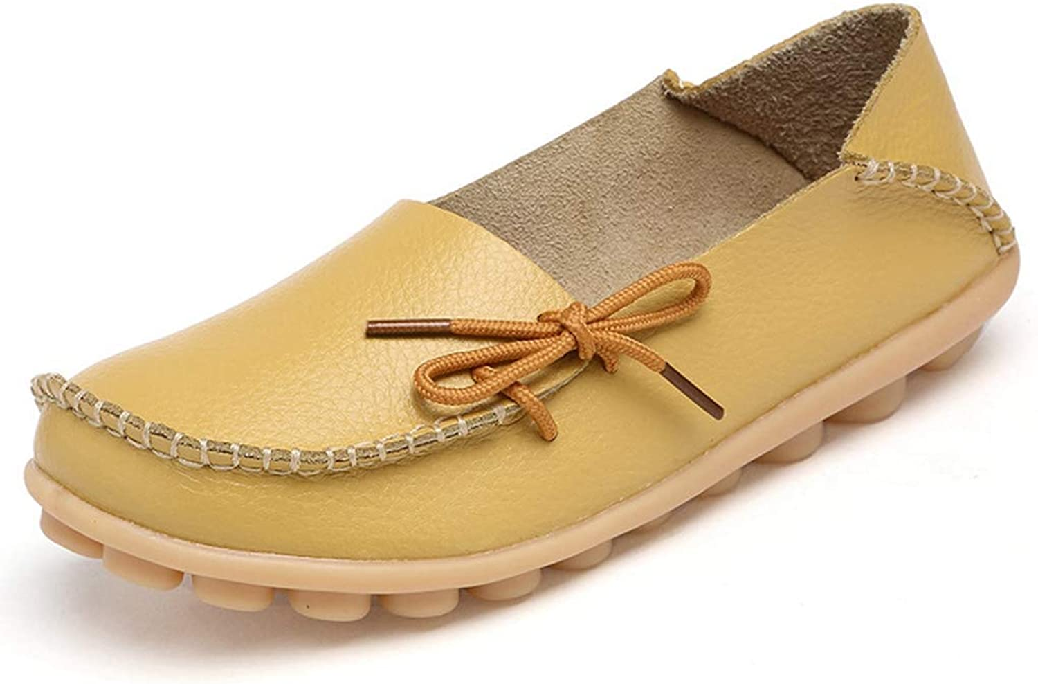 Elsa Wilcox Women Comfortable Ladies Round Toe Casual Moccasins Wild Breathable Slip-On Driving Flats shoes Leather Loafers shoes