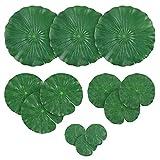Hojas artificiales de Lotus cojines de lirio de agua follaje hojas del lirio de estanque de peces de acuario piscina 12PCS, artificiales hojas de Lotus