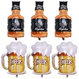 6 Pcs Whisky Bottle Foil Balloons Beer Cups Aluminum Balloon Helium Mylar Beer Glass Mug Champagne Wine Party Balloons for Birthday Wedding Baby Shower Holiday Hawaiian Party Decoration Supplies