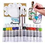 COLORFUL Stain Glass Paint Kit with 12 Colors, 3 Nylon Brushes, 1 Palette, Waterproof Acrylic Enamel Painting Set to Create Translucent Arts on Transparent Wine Glasses, Porcelain, Window and Ceramics
