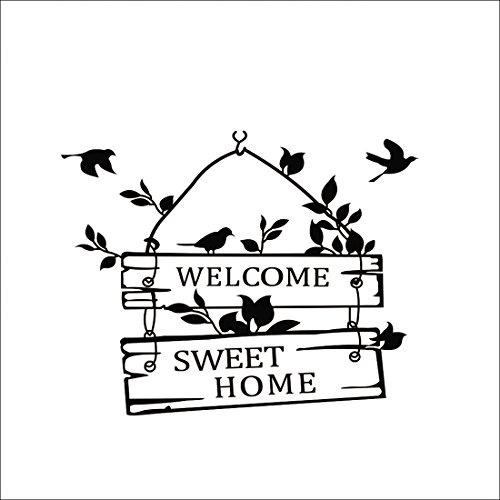 30 * 42 CM extra¨ªble Welcome Sweet Home adhesivo decorativo para pared Art vinilo Home Room Decor [Clase de eficiencia energ¨¦tica A]