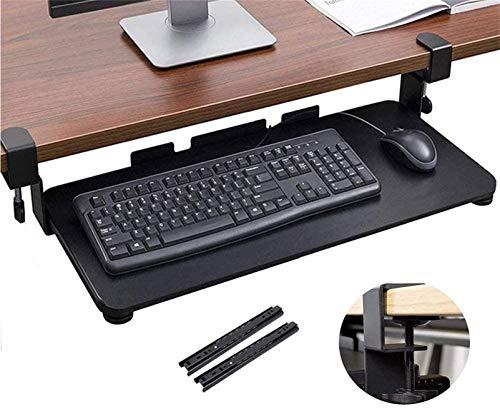 HYE-Table Extensor de Escritorio ergonómico para computadora, Debajo de la Mesa, cajón para Montaje en Escritorio, Bandeja para Teclado con Sistema de Montaje de Abrazadera en C Extra Resistente