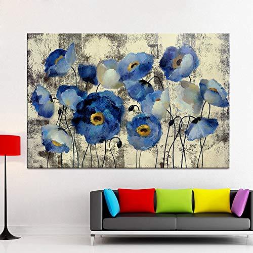 HGlSG Moderne Schilderen op Canvas Art Cuadros Blauwe Bloem Decoratie Posters en Prints Nordic Muur Foto voor Foto voor Woonkamer A3 60x90cm