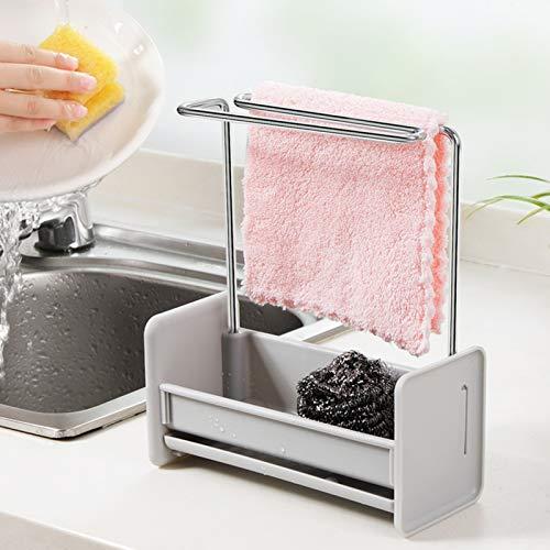 Shunfaji Organizador para fregadero de cocina y baño, con escurridor, adhesivo y superficie de trabajo, esponja de uso dual, cepillo de esponja, jabonera, soporte de acero inoxidable (plástico)