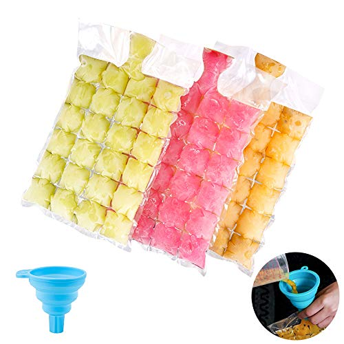 Bolsas para Hacer Hielo, Bolsa de Hielo de Plástico Desechable de Grado Alimenticio Molde de Cubitos de Hielo con un Mini Embudo 100 Piezas