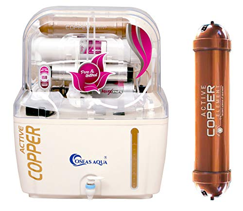 OSEAS AQUA® Water Purifier with RO UV UF TDS Adjuster with ACTIVE COPPER technology Cartridge for Ultra Filtration 14 Stage 15L with Full Installation Kit Prime (Made In India)