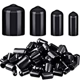 80 Pieces Rubber End Caps Flexible Bolt Covers Screw Caps Thread Protectors in 4 Sizes 1/4 to 3/4 Inch (Black)